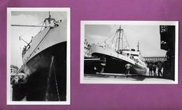 LOT - 2 PHOTOGRAPHIES - 06 - NICE - BATEAU / PAQUEBOT /  SAMPIERO CORSO A QUAI / 1952 - Schiffe
