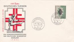FDC 150 Jahre Deutsches Turnen (fêtes De Gymnastique) - Saarbrücken - 1958 - Timbre N° 419 - FDC
