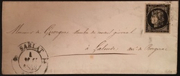 Lettre 1849 Céres N°3 20c Noir/jaune Oblitéré Grille + Dateur Type 12 De Sarlat Du 1er Mai 1849 Signé Calves - 1849-1850 Ceres