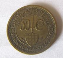 Monaco - Monnaie Crédit Foncier De Monaco Bon Pour 50 Centimes 1924 - TTB - 1922-1949 Louis II