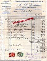 BELGIQUE- GOSSELIES -FACTURE A. D' HOLLANDER- LIQUEURS SPIRITUEUX-VINAIGRES- RUE THEYS 60-62-  1937 - Old Professions