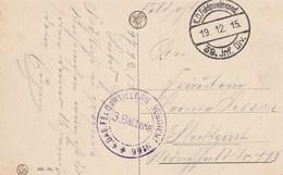 Cachet Feldartillerie Reg 66 + KD Feldpostexped 39 INF DIV 19/12/1915 Sur Carte Postale Namur Pour Stuttgart - WW I