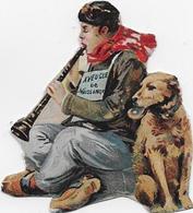 Mendicité : Aveugle De Naissance Et Musicien Assis Avec Son Chien  5x5cm  Découpé Dans Chromo Leroux - Découpis