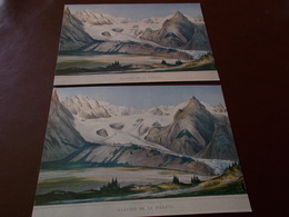 B714   2 Cartoline Monte Bianco Disegnato Da J.burck - Italia