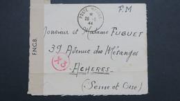 Letre En Franchise Militaire De Londres Grande Bretagne Aout 1944 Pour Acheres Bande Censure F.N.C.B - Marcophilie (Lettres)