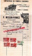 BELGIQUE- FLEURUS- RARE FACTURE P. MISSON PIRMEZ- POMPES FUNEBRES-CORBILLARD--67 RUE STATION-3 RUE DU BERCEAU-1936 - Old Professions
