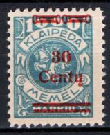 Lituania Memel 1923 Unif.208 */MH VF/F - Lithuania