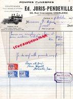 BELGIQUE- CHARLEROI- RARE FACTURE ED. JORIS PENDEVILLE-POMPES FUNEBRES CORBILLARD-26 RUE CHAVANNES- 1948 - Old Professions