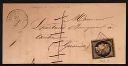Lettre 1849 /1850 Céres N°3 20c Noir/jaune Oblitéré Grille + Dateur De Monpont Sur L'isle +taxe 1 Barrée Jour De Noêl !! - 1849-1850 Ceres