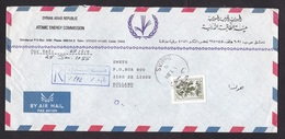 Syria: Registered Airmail Cover To Netherlands, 1988, 1 Stamp, Sent By Atomic Energy Commission, Nuclear (traces Of Use) - Syrie