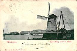 The Netherlands, Dordrecht, Spoorbrug Over De Maas, Mill, Old Postcard 1901 - Dordrecht