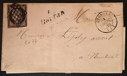 Lettre 1849 /1850 Céres N°3 20c Noir/jaune Grille + Dateur Oyonnax + Cursive 1 Dotan RR / Ain Signé Baudot - 1849-1850 Ceres