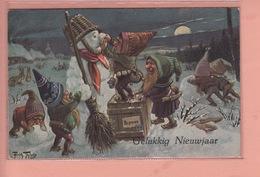 OLD POSTCARD ARTIST SIGNED -    ARTHUR THIELE -GNOMES - SNOWMAN - T.S.N. SERIE 1950 - Thiele, Arthur