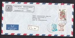 Syria: Registered Cover To Netherlands 1991, 3 Stamps, Flowers, Assad, R-label, From Political Department (minor Damage) - Syrië