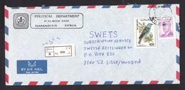 Syria: Registered Cover To Netherlands, 1991, 2 Stamps, Bird, Assad, R-label, From Political Department (minor Damage) - Syrië