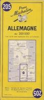 ALLEMAGNE  - CARTE ROUTIÈRE MICHELIN N° 205 (200.000ème) - Cartes Routières