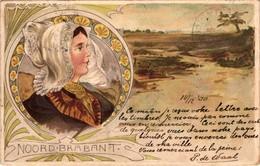 The Netherlands, Noord Brabant, Landscape, Folklore, Old Art Nouveau Style Postcard 1900 - Niederlande