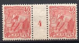 !!! PRIX FIXE : GUYANE, PAIRE DU N°59 AVEC MILLESIME 4 (1904) NEUVE ** - Neufs