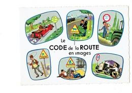 Cpm Humour Code Route Images Illustration Agent Police Panneau Signalisation Maçon échafaudage Bouteille Vin Ivrogne - Humour