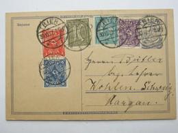 1922 , Ganzsache Mit Zusatzfrankatur Aus Trier  In Die Schweiz - Deutschland