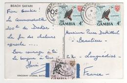 "Timbres , Stamps Yvert N° 211 , 213 "" Oiseaux "" Sur Cp , Carte , Postcard Du 16/10/1969 - Gambie (1965-...)"