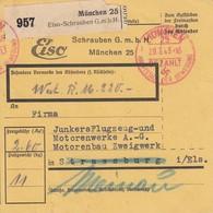 Paketkarte Obl MÜNCHEN Du 20.7.43 Adressée à Strassburg Meinau - Parcel Post