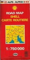 ALPES - ALLEMAGNE, AUTRICHE, ITALIE Et SUISSE - CARTE ROUTIÈRE (750.000ème) SHELL (MAIR) - Cartes Routières