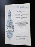 MENU - PRUNELLE NOYER Fete De L' Armistice 11 Novembre 1938 Saint Amand - Martinat Traiteur La Celle Bruere Cher - Menus