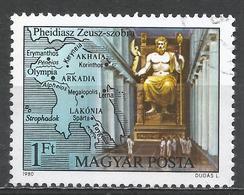 Hungary 1980. Scott #2633 (U) Zeus, By Phidias, Olympia * - Oblitérés