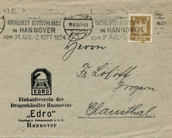 HANNOVER - 1924 , Werbestempel: Katholiken Deutschlands In ... -  Einkaufsverein Der Drogenhändler Hannovers - Drogen