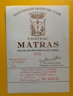 9928 - Château Matras 1974 Saint-Emilion - Bordeaux