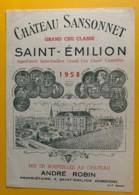 9953 - Château Sansonnet 1958 Saint-Emilion - Bordeaux
