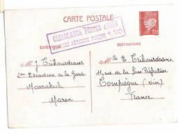 Casablanca  Poste Avion   Surtaxe Aérienne  Entier Pétain   écrite à Marrakech 1942 - Guerre De 1939-45