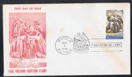 1968 1. Okt. Taal Eruption FDC Mi PH 849 Sn PH C95 Yt PH PA70 Sg PH 1071 Schmuckumschlag Sonderstempel - Philippinen