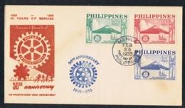 1955 23. Feb. 50 J. Rotary FDC Mi PH 589 Sn PH 618 Schmuckumschlag Sonderstempel - Philippinen
