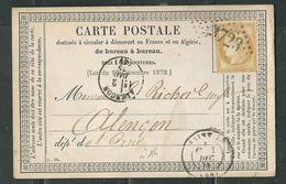 FRANCE 1875 N° 55   S/CP Obl.GC 3723 Saint Lo - 1871-1875 Cérès