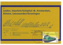 D36085 CARTE MAXIMUM CARD FD 2014 NETHERLANDS - TRAIN ROUTE SCHEME ON DISPLAY AT RAILWAY STATION CP ORIGINAL - Eisenbahnen