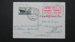 Carte Souvenir Voyage Inaugural Paquebot France Le Havre New York 3 Février 1962 - Marcophilie (Lettres)