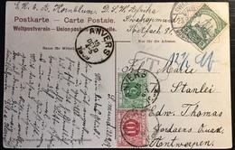 Afrique Du Sud Ouest Allemand Carte Affr 3 Pfenning N°27 Pour Anvers Belgique Taxée En Arrivée 15 Centimes R & Superbe - Colony: German South West Africa