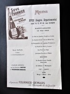 MENU SEVE FOURNIER DEMARS Congrès A.C. P. G. Du CHER.a SAINT AMAND Cher 1963 - R. Dupuis Traiteur A Chateaumeillant - Menus