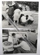 Citroen Ami 6 Ami6 Changement De Roue Crevaison En Groupe Photo Originale Cliché Amateur Snapshot X2 - Automobiles