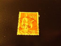 """1932      Timbre Oblitéré N° 283 IIa    """"  Paix 50c Rouge       """"   Côte    0.80        Net   0.25 - 1932-39 Paix"""