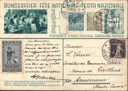 Bundesfeier Pour L'éducation Ménagère 1934 Entier Vert 10ct Vignette Bleue Naba 29 IX Au 7 X 34 Facteur à Pied Zurich - Entiers Postaux