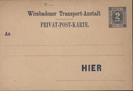 Entier Wiesbadener Transport Anstalt Privat Post Karte 2 Pfennig Anstalt Wiesbaden Timbre Style 1887 Michel P162 - Poste Privée