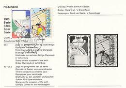 D36100 CARTE CARD FD 1980 NETHERLANDS - EMISSION INFORMATION - BRIDGE PLAYING CARDS / WHEELCHAIR ATHLETE CP ORIGINAL - Handisport