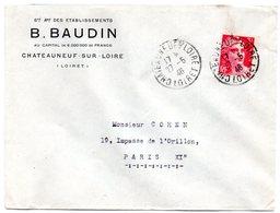 LOIRET - Dépt N° 45 = CHATEAUNEUF S/ LOIRE  1946 =  CACHET MANUEL A4 + En-tête Ets BAUDIN - Marcophilie (Lettres)