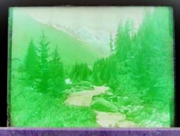 Ancienne Photographie Photo Négatif Sur Verre L' Arve Mont Blanc Vu D'Argentière Goûter Chamonix Salvan Finhaut CPA - Glasdias