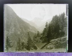Ancienne Photographie Photo Négatif Sur Verre Vallée De Trient Aiguille Rouge Gietroz Argentière Chamonix Salvan CPA - Glasdias