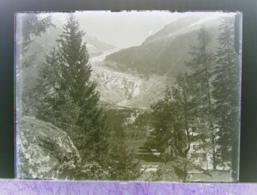 Ancienne Photographie Photo Négatif Sur Verre Le Glacier D'Argentière Près Trient Gietroz Chamonix Salvan Vallorcine CPA - Glasdias