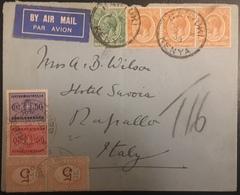Kenya & Ouganda Lettre Cover N°2A & 6x3 Pour L'italie Et Taxée En Arrivée Avec N°5x2, 30 & 34 RR - Kenya & Uganda